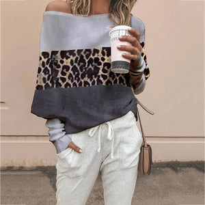 Simple Stitching Leopard Off-The-Shoulder Knitwear Sweater