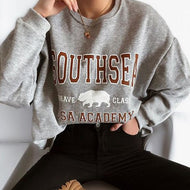 Casual Round Neck Long Sleeve Letter Sweatshirt