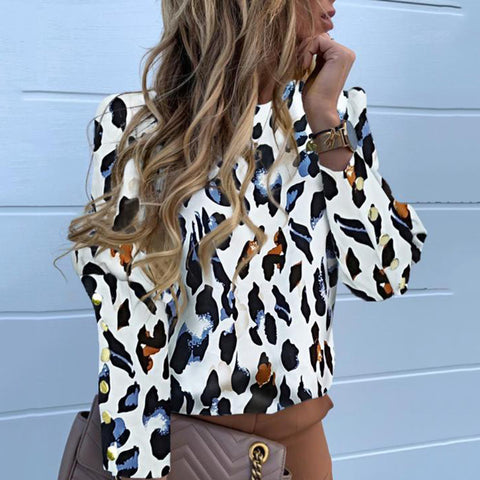 Fashion leopard pattern long sleeves shirt Blouse