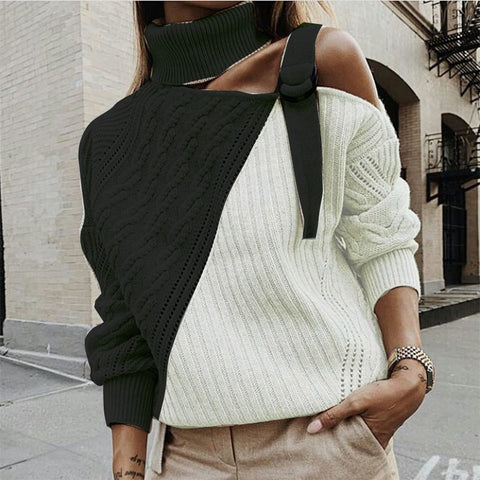 Fashion Colorblock Single Off-Shoulder Long-Sleeved Knit Top Sweater