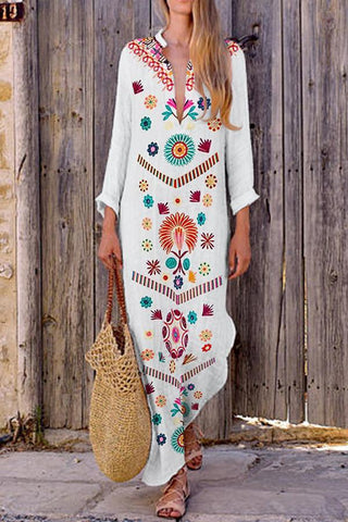 V-Neck Bohemian Printed Vintage Dress Maxi Casual Dress