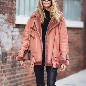 Naked pink plus velvet thick women's jacket leather jacket coat