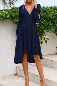 2019 Spring Casual V Collar Plain Chiffon Vacation Dress