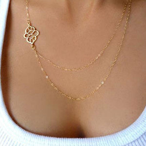 Hollow Out Lotus Layers Chain Necklace
