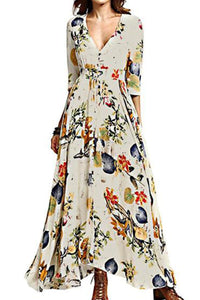 Ethnic Floral Printed V-Neck Vacation Dress