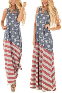 Fashion National Flag Printing Sleeve Vacation Dress
