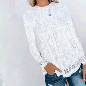Lace V-Neck Stitching Solid Color Long-Sleeved Blouse