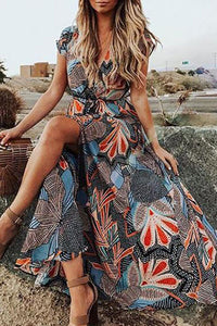 Sexy V-Neck Short Sleeve Large Swing  Printed Bohemian Maxi Dress