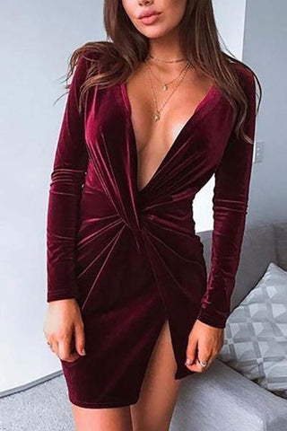 Sexy Deep V Neck Slim Show Thin Long Sleeve Bodycon Dresses