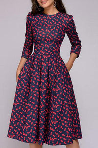 3/4 Sleeve Floral Printed Skater Party Dress