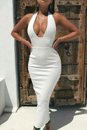 Halter-Necked V-Neck Open-Back Fashion Tight-Fitting Bodycon Dress