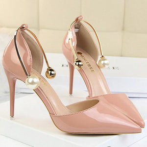 Shallow Mouth Pierced Pearl Wedding Party High Heel