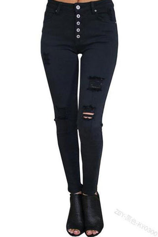 High Waist Buckle Ladies Jeans   Black Slim Stretch Hole Pants