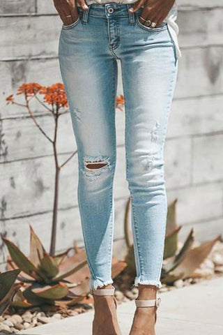 High Waist Ripped Denim Jeans Pants