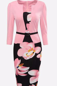 Floral Printed Fake Two-Piece Bodycon Dresses
