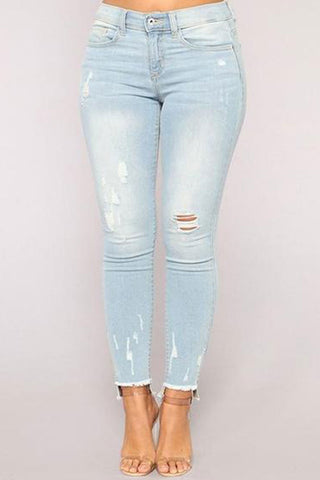 Elastic Cotton Hole Pencil Jeans Pants
