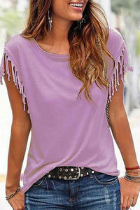 Casual Round Collar Pure Color Tassel Short Sleeve Shirt