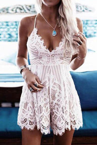 Sexy V Neck Lace Strap Jumpsuit Rompers