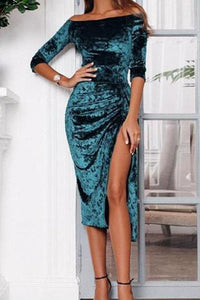 Fashion Off The Shoulder Split High Elastic Bodycon Dress