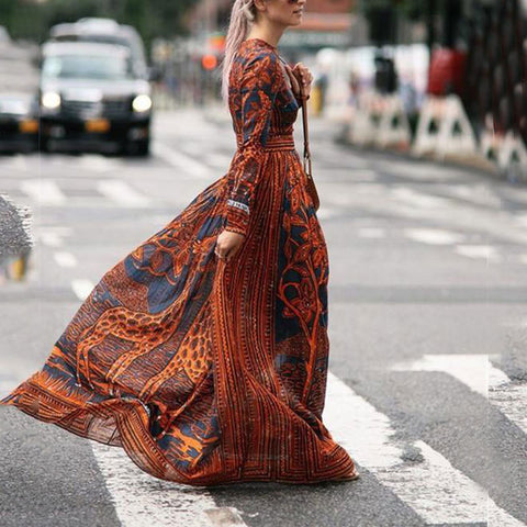 Chiffon Print Long-Sleeved Vintage Maxi Dress