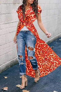 Casual Sexy V Neck  Bohemian Red Leopard   Print Maxi Dress