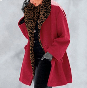 New Warm Fashion Multi-Color Shawl Collar leopard Coat