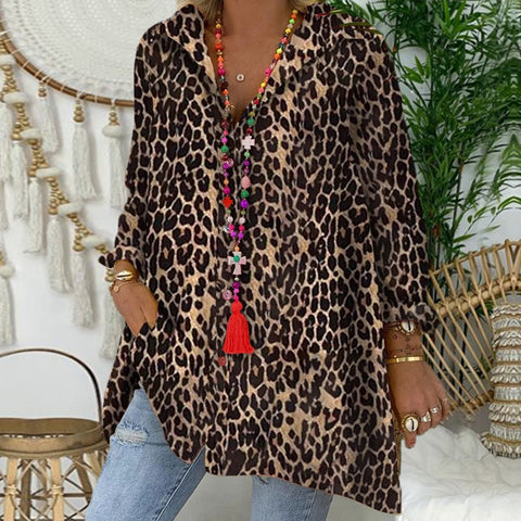 Casual Long Sleeve Leopard Printed Shirt Blouse