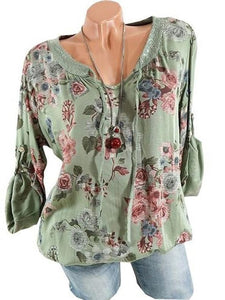 Flower Printed V-Neck T-Shirt