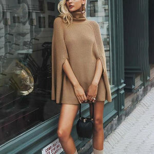 Mid-Length Cotton Knitted Sweater Cape Irregular Sweater Jacket