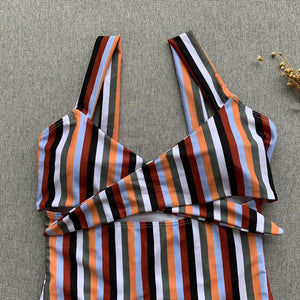 Spaghetti Strap  Lace-Up  Striped One Piece