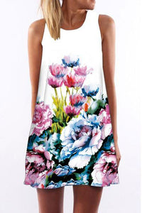 Digital Flower Printed Round Collar Sleeveless A-Line Casual Dress