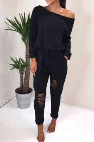 Casual Fashion Off Shoulder Plain Elastic Loosen Jumpsuit