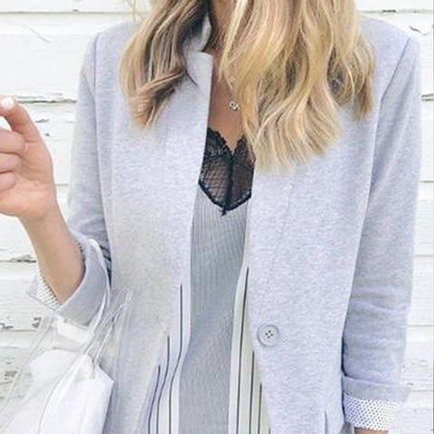 Casual Solid-Color Pocket Suit Jacket