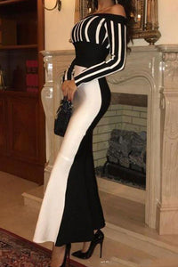 Contrast Fishtail Dress Evening Bodycon Dress