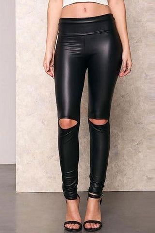 Shredded Casual Trousers PU Leather Pants
