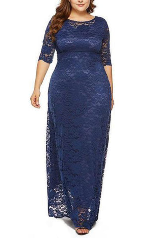 Plus-Size Pure Color Hollowed Out Lace Dress