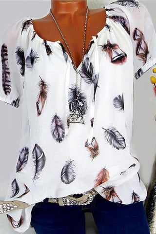 Loose Feather Print V-Neck Short-Sleeved blouse
