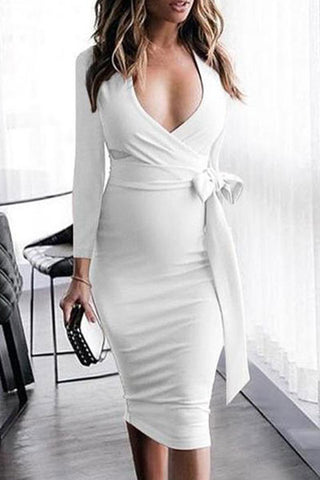 Elegant Maternity V-Neck Side Bow Knee-Length Bodycon Dress