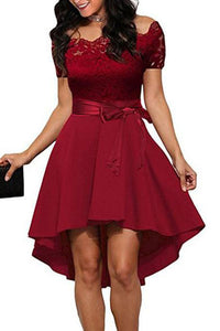Short-Sleeved Cutaway Collar Lace Stitching Irregular Wedding Skater Dress