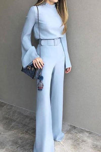 Fashion Pure Colour Half High Collar Blue Suit Jumpsuit