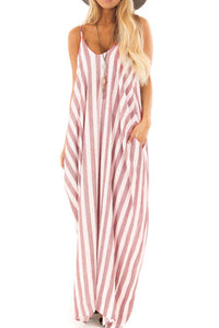 Casual Spaghetti Straps Color Block Stripe Vacation Dress