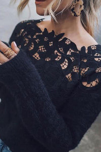 Long Sleeve Lace Knit Sweater