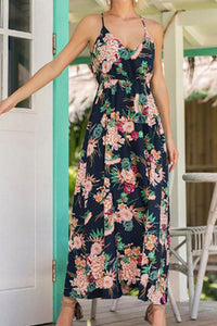 Spaghetti Strap Floral Printed  Sleeveless Maxi Dresses