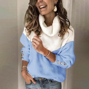 Women's fashion color matching turtleneck sweater