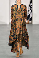 Vintage Printed V Neck Long Sleeve Overlap Maxi Dress