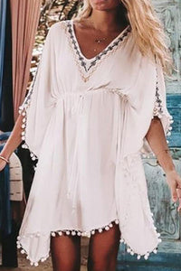 Casual V Collar Loose Embroidery Vacation Dress