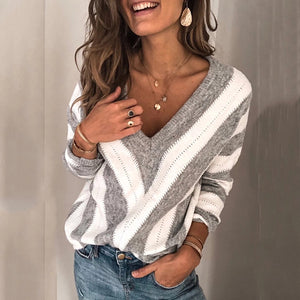 Women Simple V-neck Striped Loose Sweater