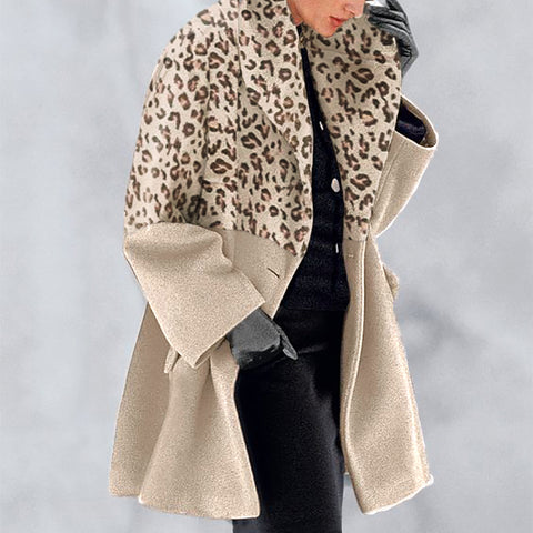Leopard Print Color Fashion Shawl Collar Coat
