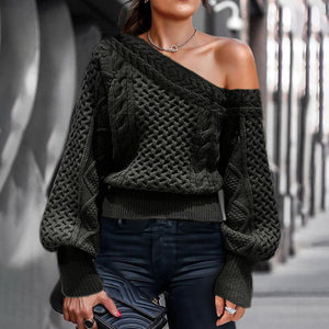Casual strapless lantern sleeve sweater