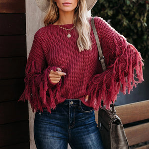 Fashion Round Neck Fringed Solid Color Sweater